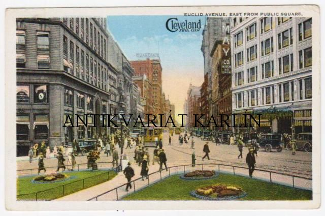 Euclid Avenue, East from Public Square, Cleveland, USA, auta, tramvaje